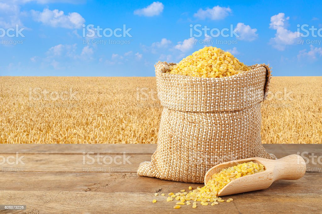 Bulgur in sack with field of wheat on the background stock photo