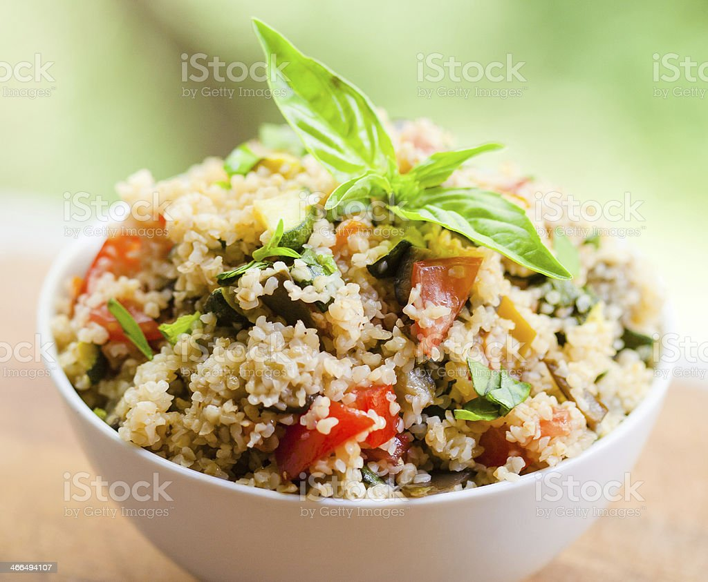 Bulgur Wheat Salad with fresh Vegetables stock photo