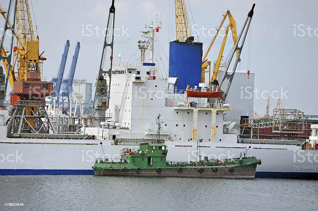 Bulk cargo and bunker ship stock photo