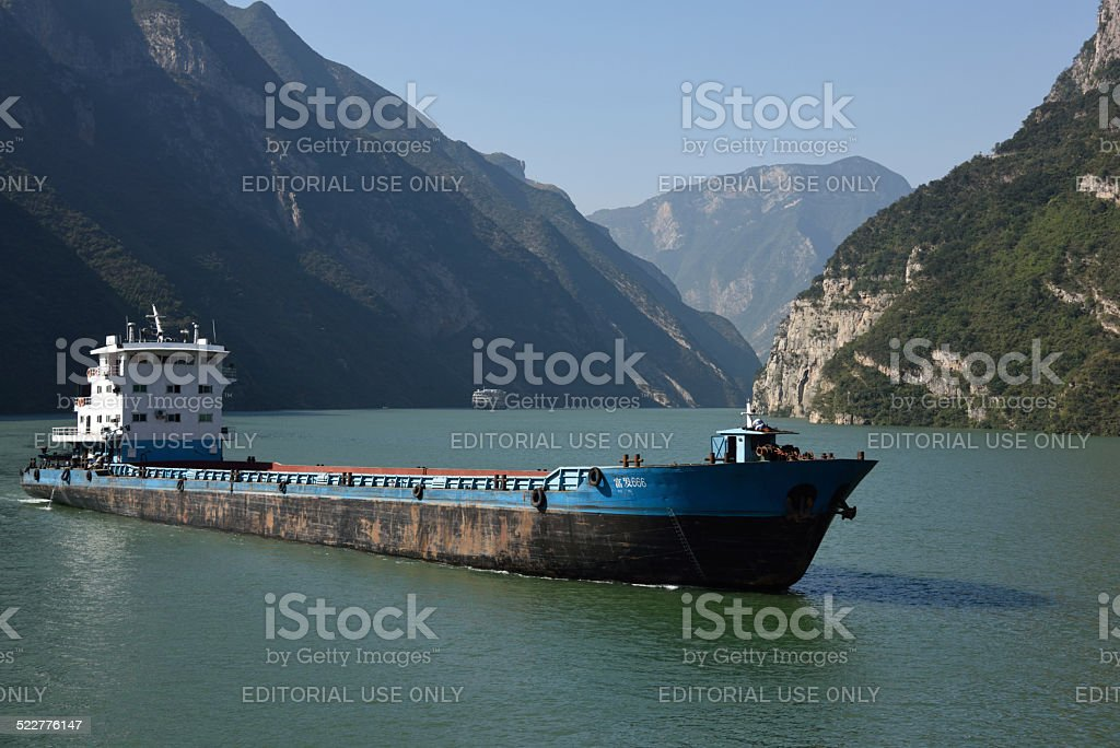 Bulk Carrier in the Wu Gorge stock photo