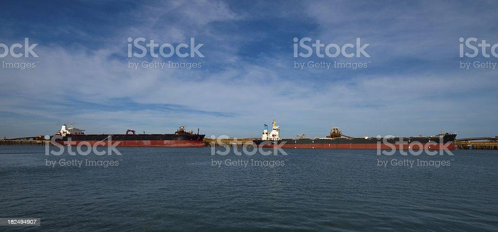 Bulk Carrier loading in Port Hedland harbour royalty-free stock photo