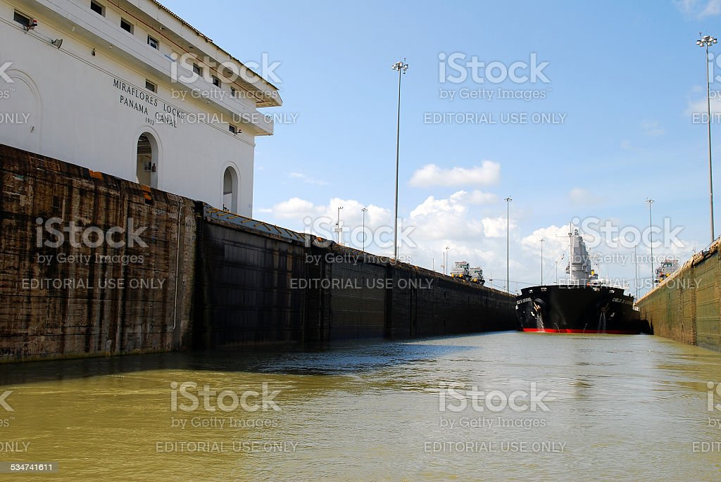 Bulk carrier ship transiting the Panama Canal stock photo