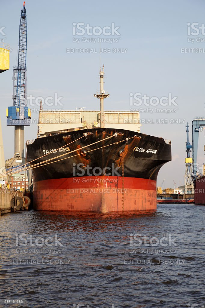 Bulk container freighter Falcon Arrow at Hamburg Dock stock photo