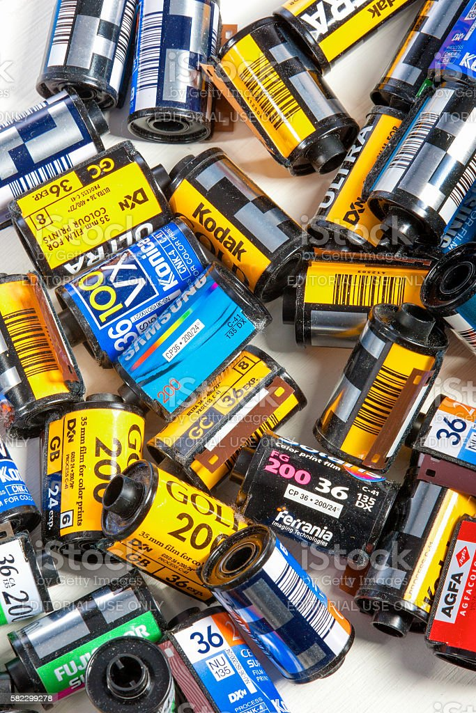 Bulk Variety of Old Photo Films Cassettes of Different Manufacturers stock photo