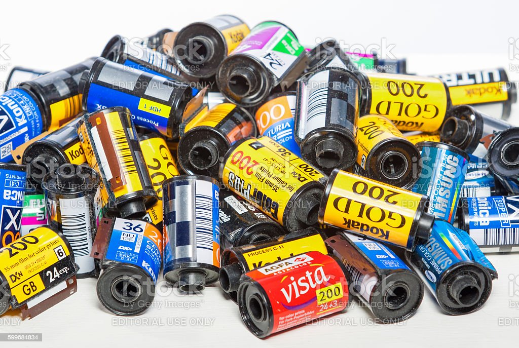 Bulk Variety of Old Photo Films Cassettes stock photo