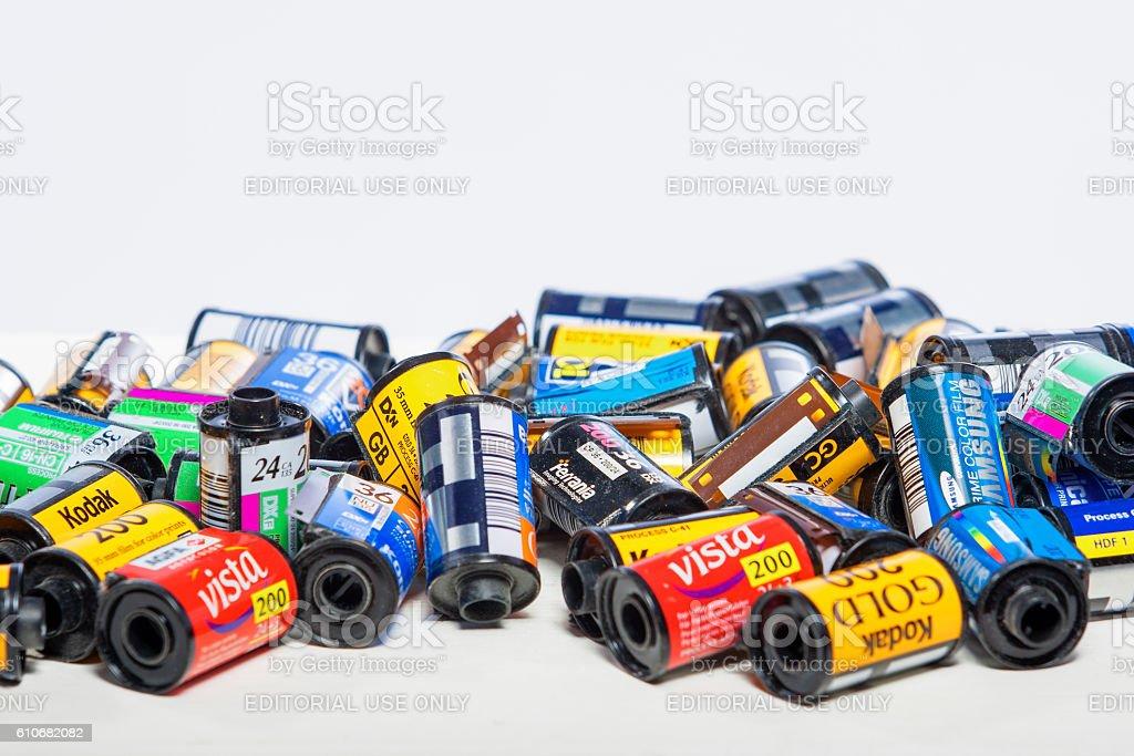 Bulk Variety of Old Photo Films Cassettes stock photo