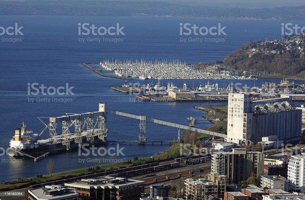 bulk vessel ship loading grain in Seatle, Washington stock photo