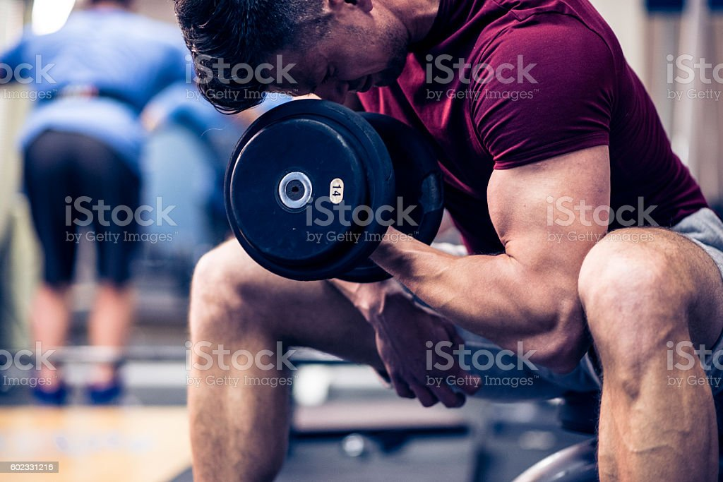 Bulking up those muscles stock photo