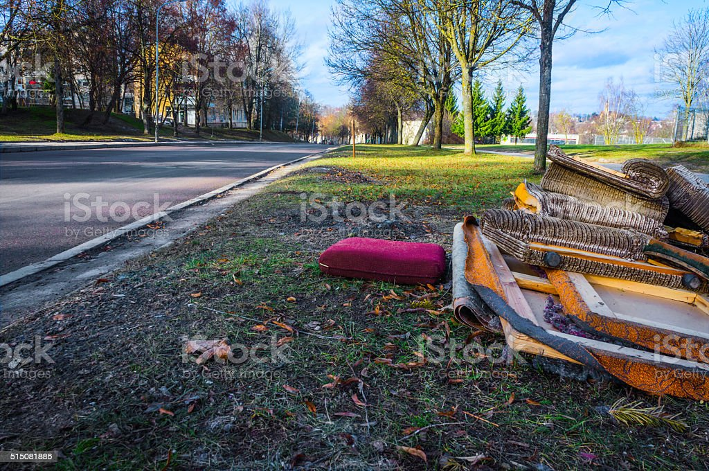 Bulky waste on the street stock photo