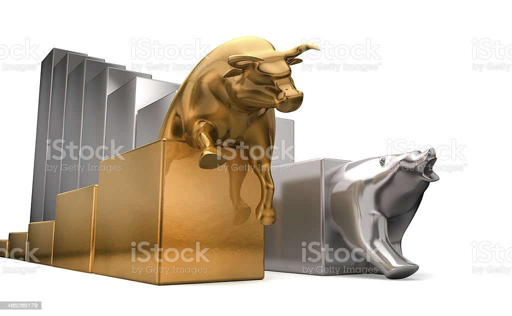 Bull And Bear Economic Trends stock photo