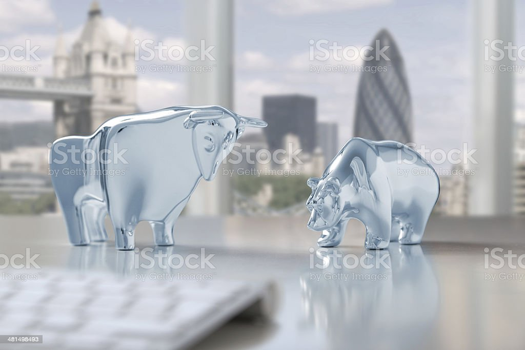 Bull and bear in London stock photo