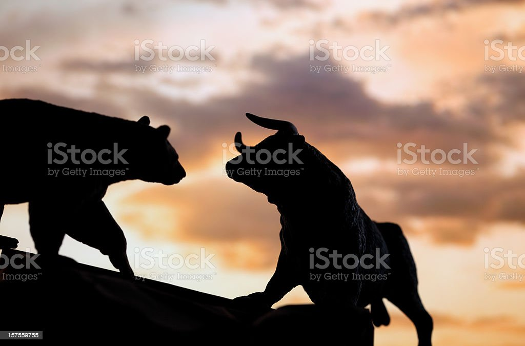 Bull and bear market royalty-free stock photo