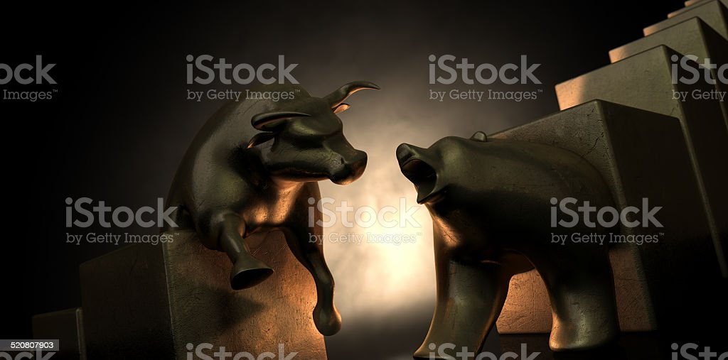 Bull And Bear Market Statues stock photo