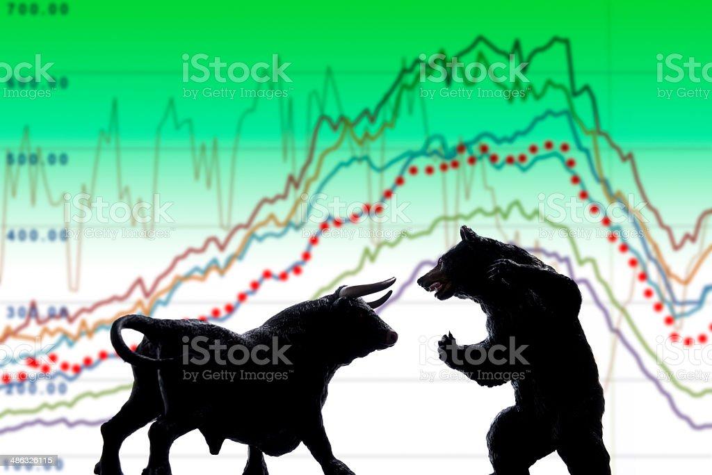 Bull and bear stock photo