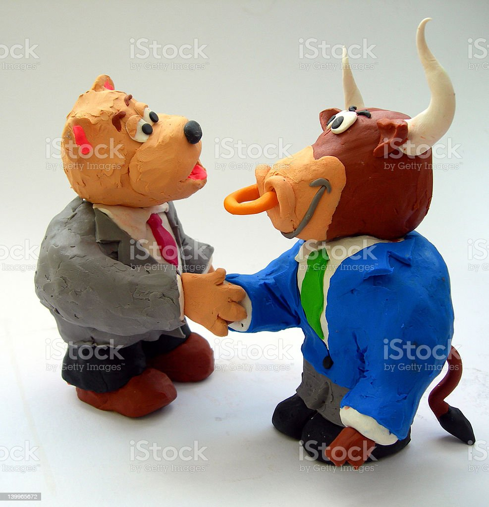 Bull and Bear Strike a Deal! royalty-free stock photo