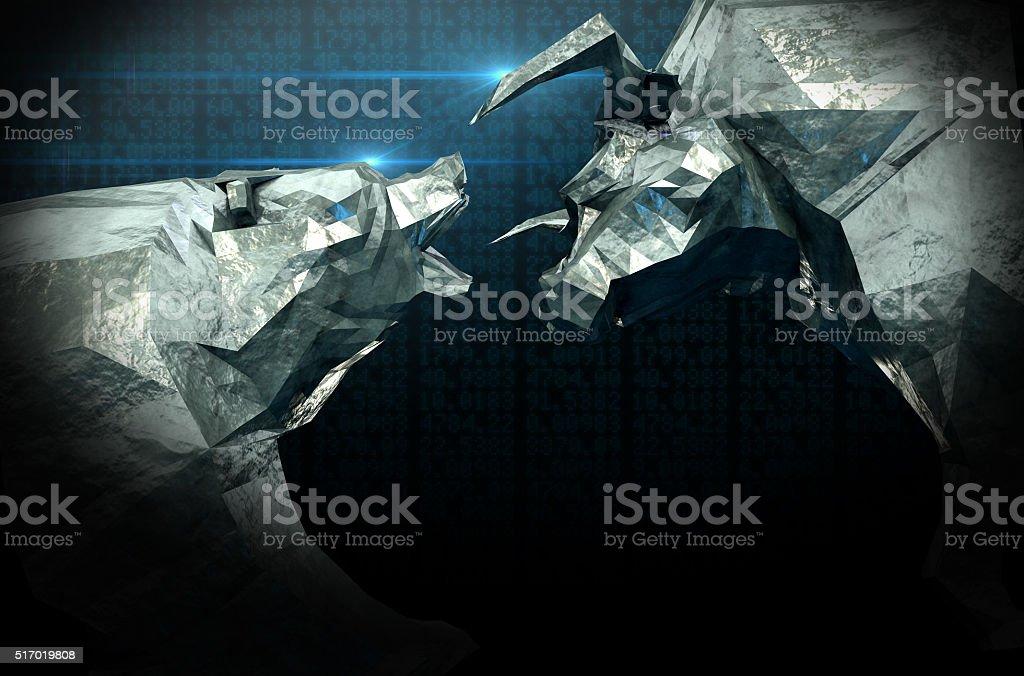 Bull Bear Chiseled Figures stock photo