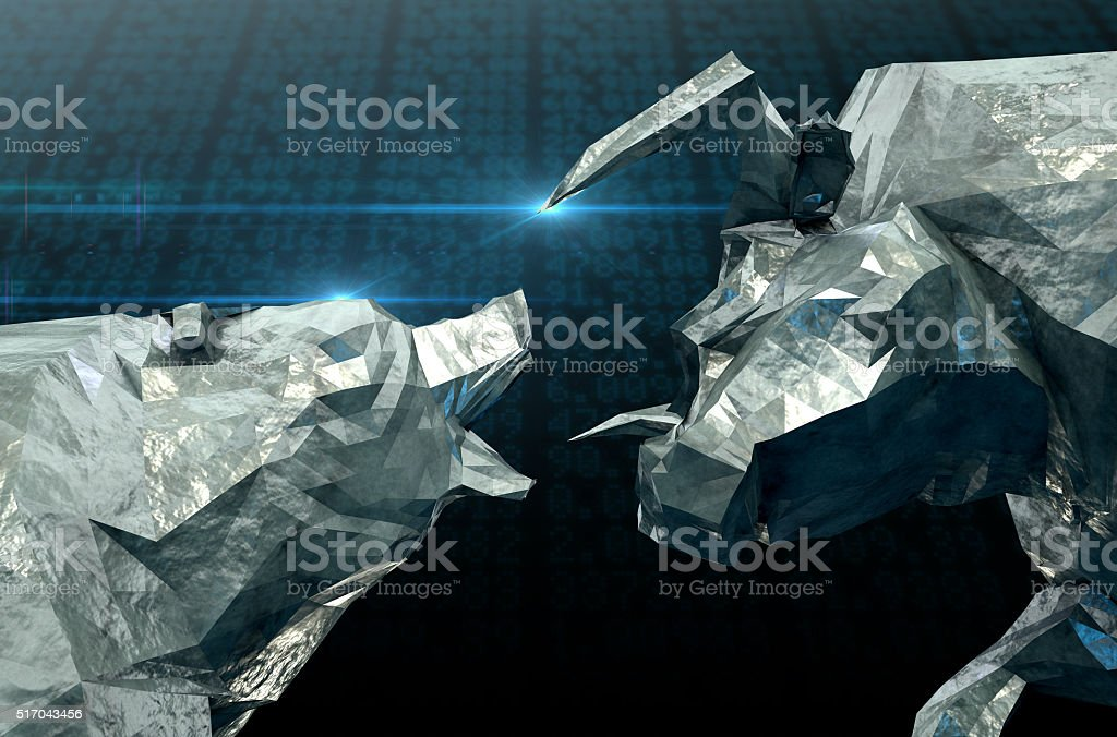 Bull Bear Chiseled Figures stock photo