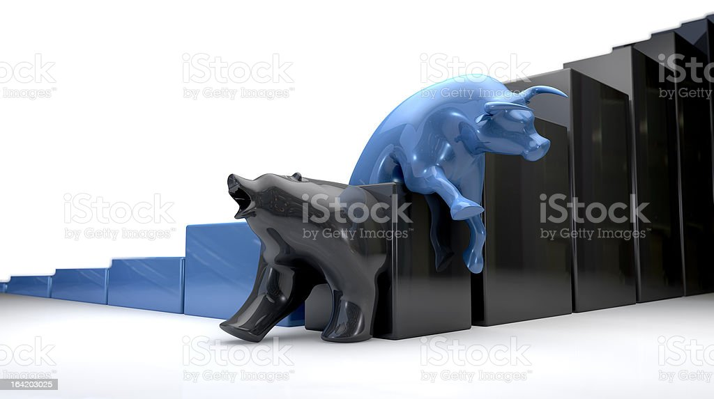 Bull & Bear Econonomic Trends  Cross royalty-free stock photo