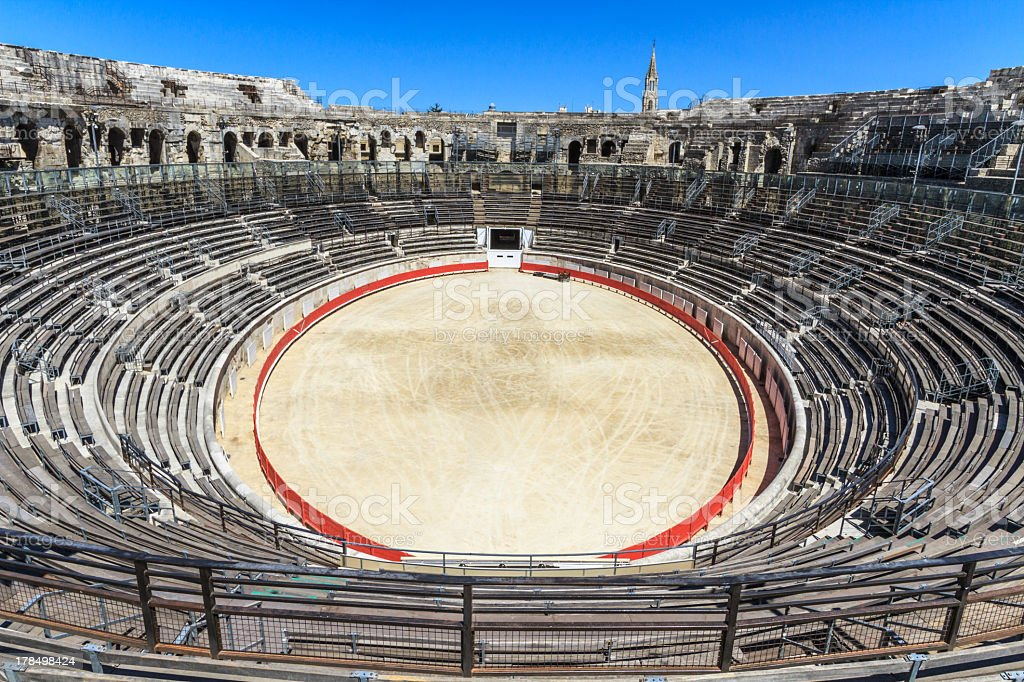 Bull fighting arena in Roman amphitheater in Nimes, France stock photo