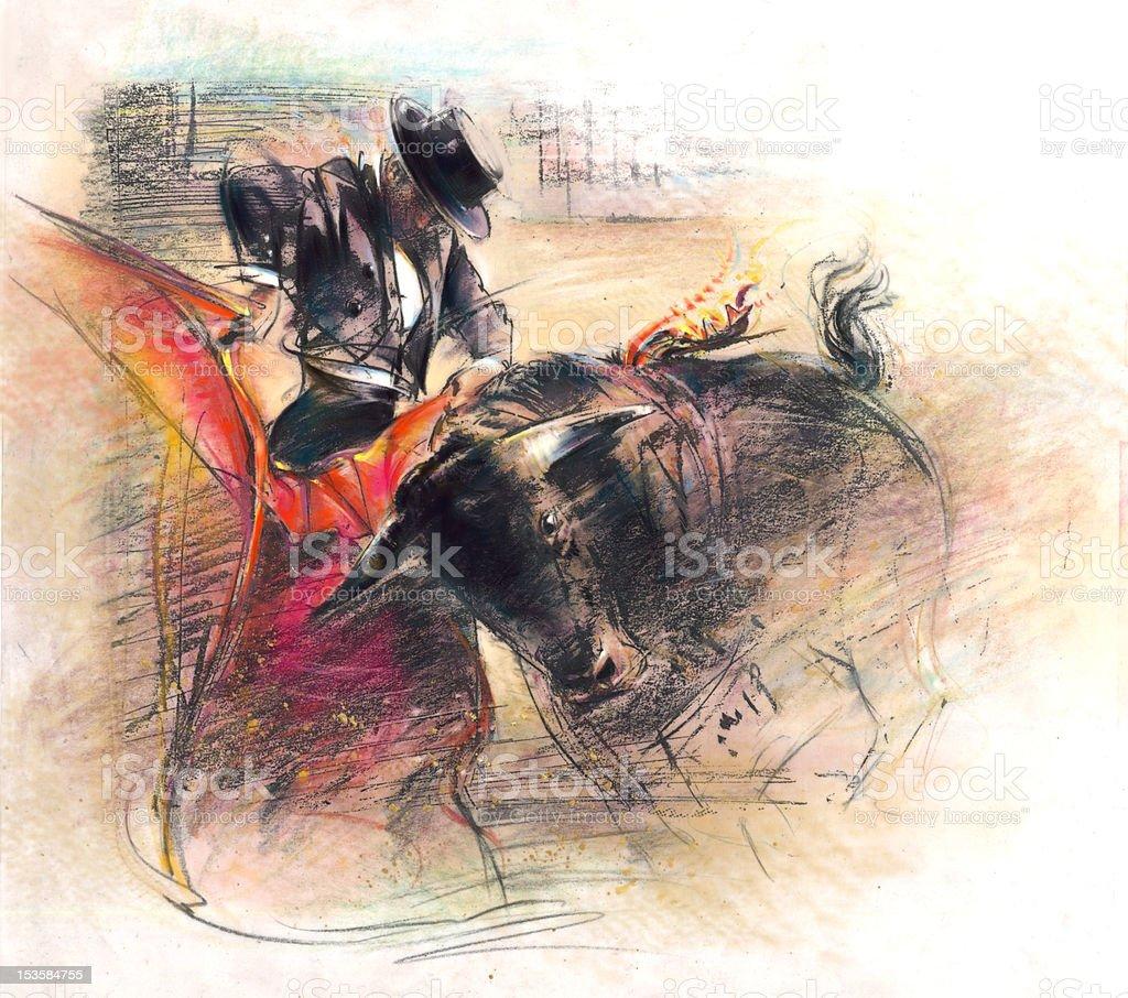 Bull Fighting Illustration stock photo