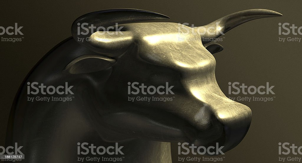 Bull Market Bronze Casting Contrast stock photo