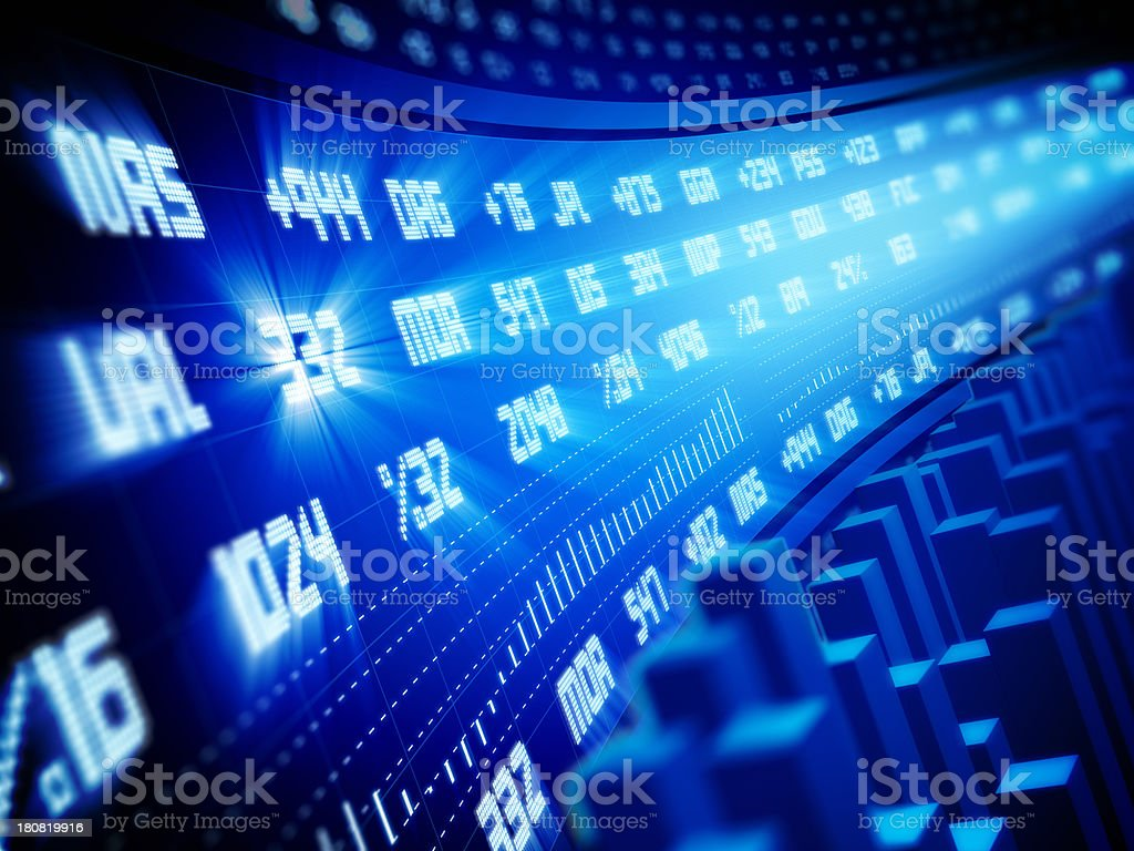 Bull Market - Financial Ticker Data stock photo