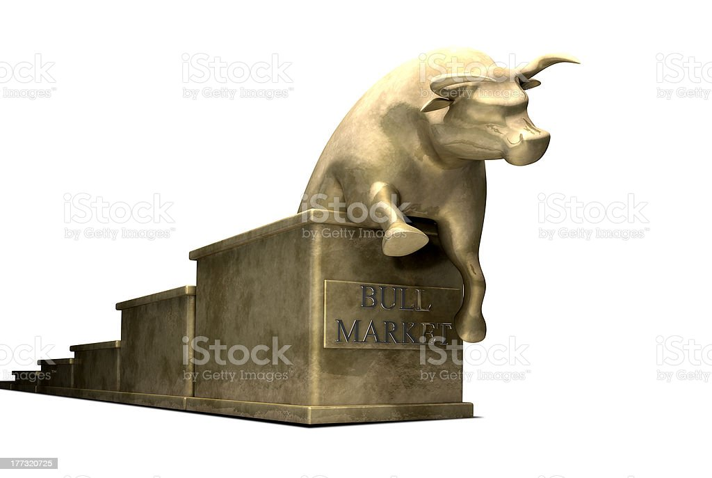 Bull Market Trend Cast In Gold stock photo