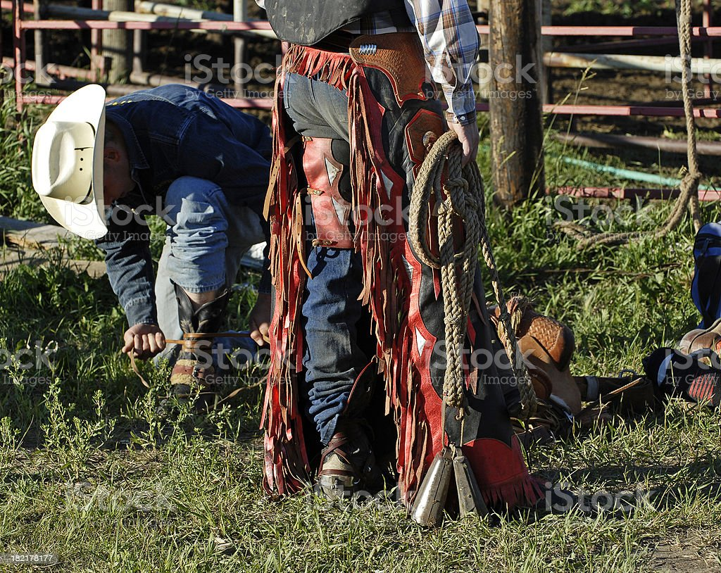 Bull Riders getting ready royalty-free stock photo