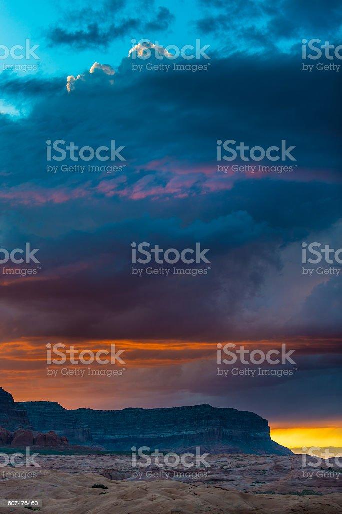 Bull Ridge at Sunset Hole in the Rock Utah stock photo