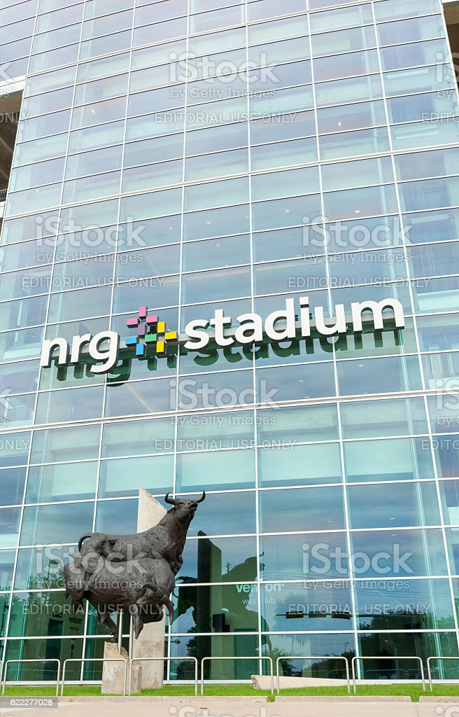 Bull statue outside NRG Stadium, Houston. stock photo
