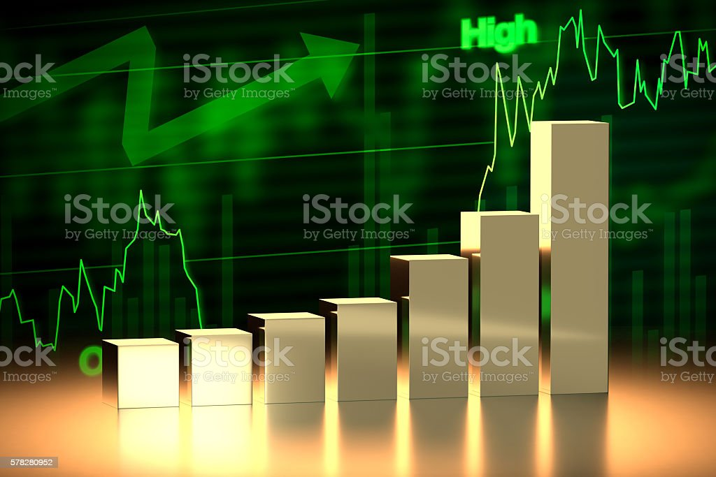 Bull Stock Market Chart, 3D Rendering stock photo