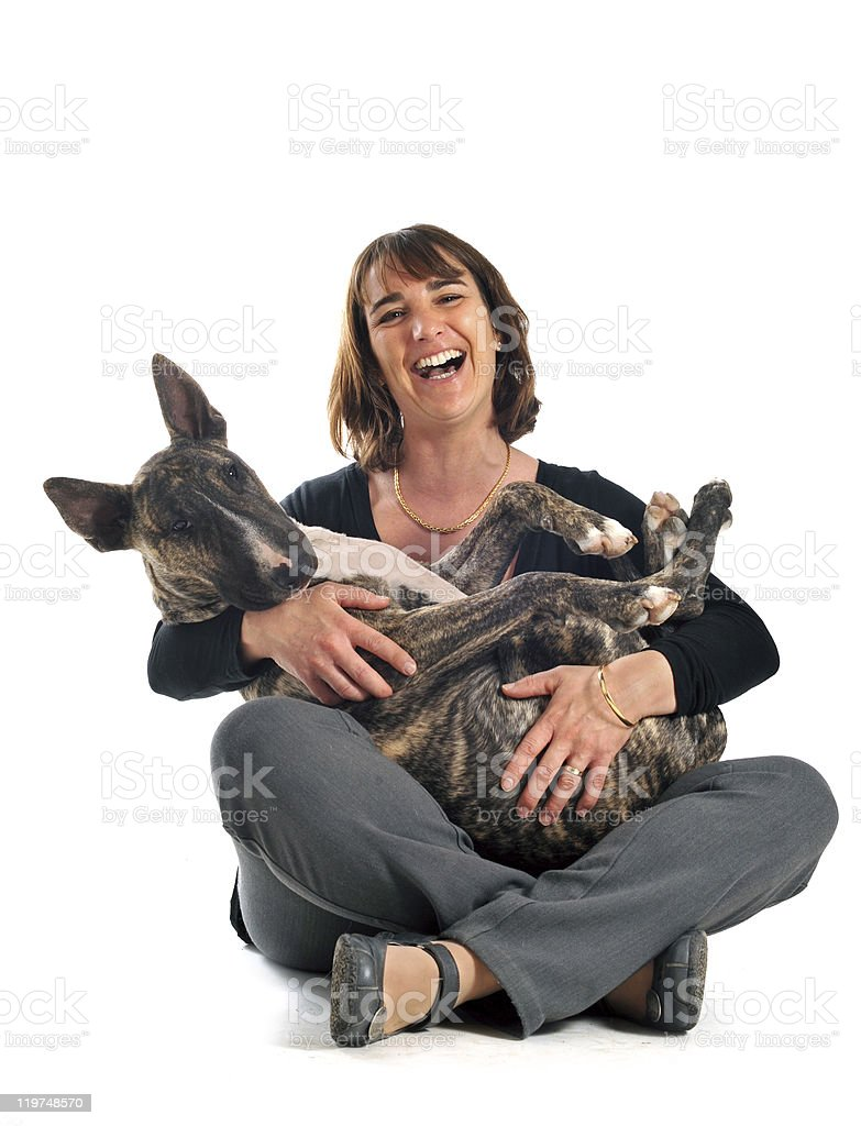 bull terrier and woman royalty-free stock photo