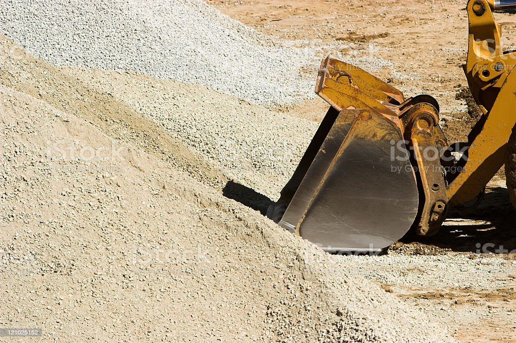 Bulldozer and gravel royalty-free stock photo
