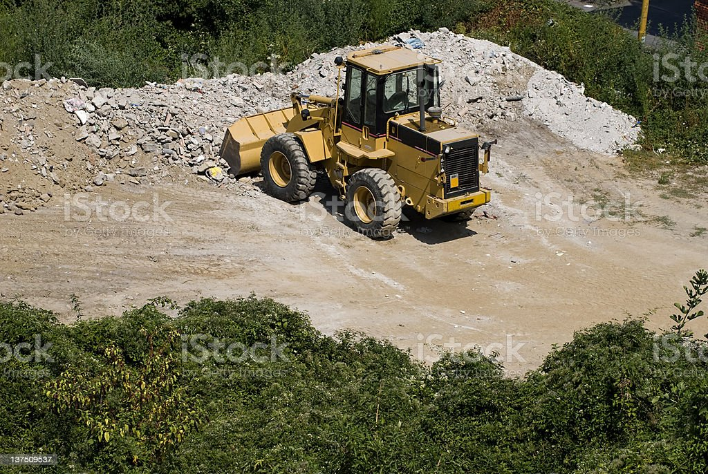 Bulldozer at work, Excavation stock photo