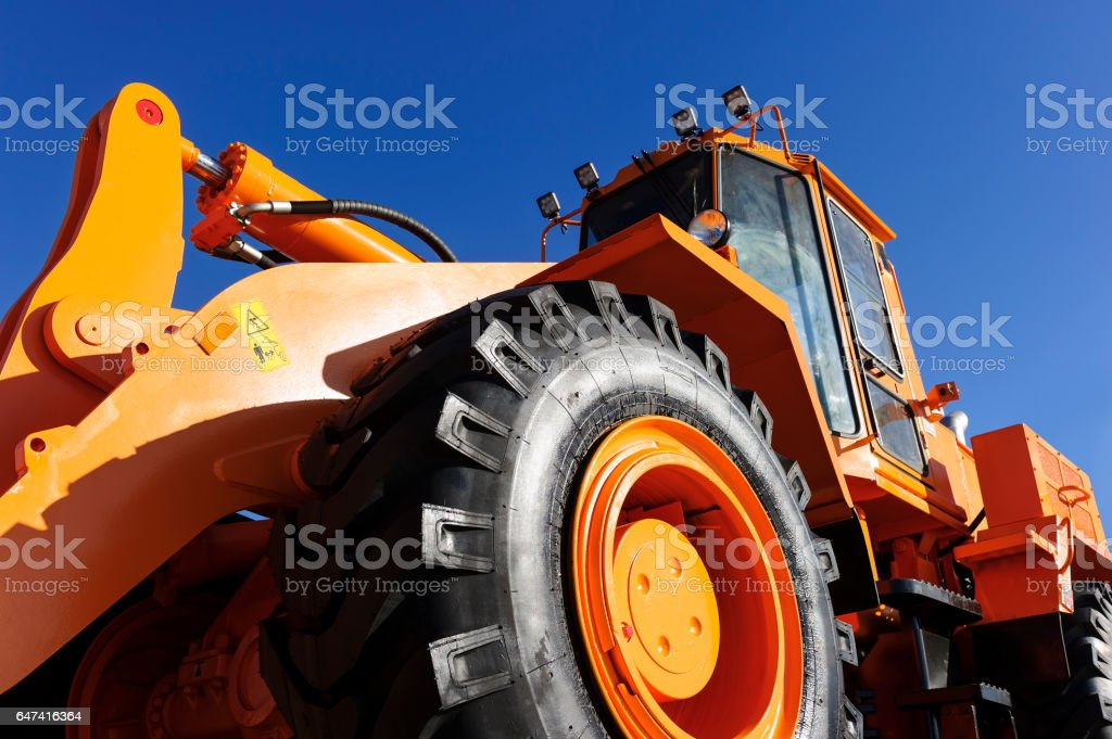 Bulldozer bottom view stock photo