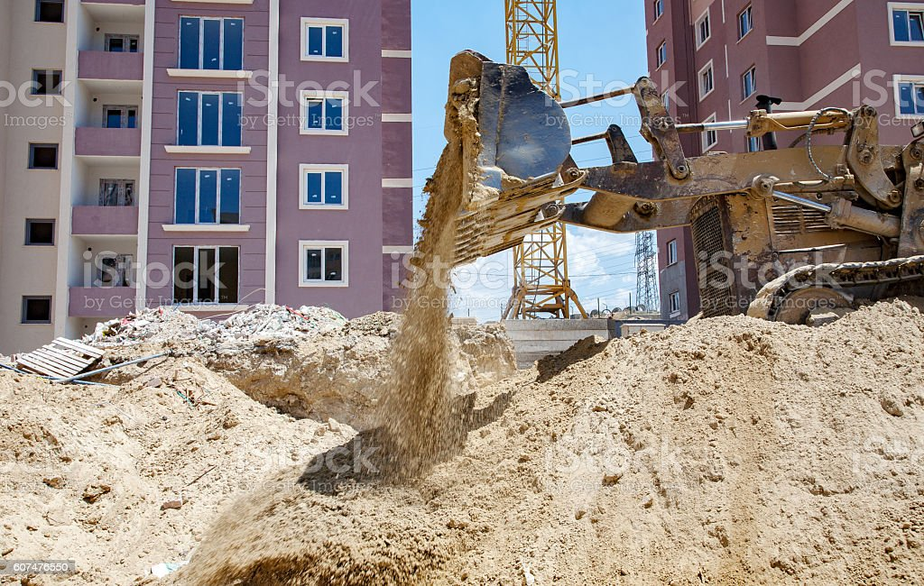Bulldozer collect soil stock photo