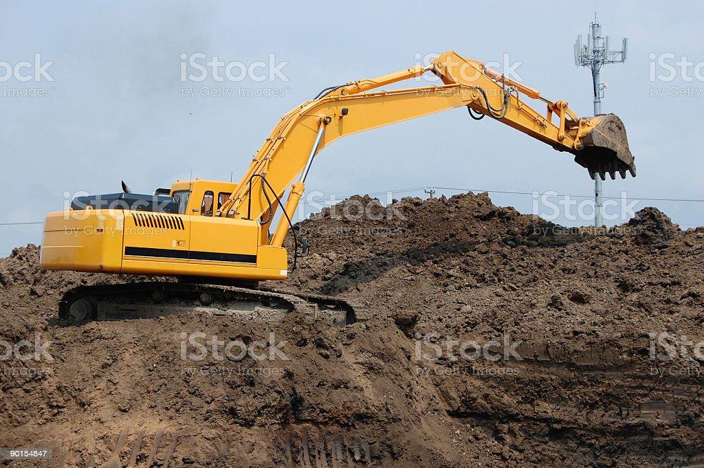 Bulldozer Digging Foundation royalty-free stock photo