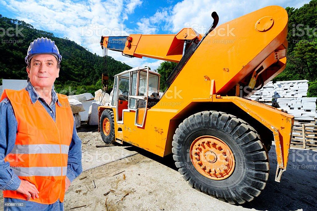 Bulldozer driver stock photo