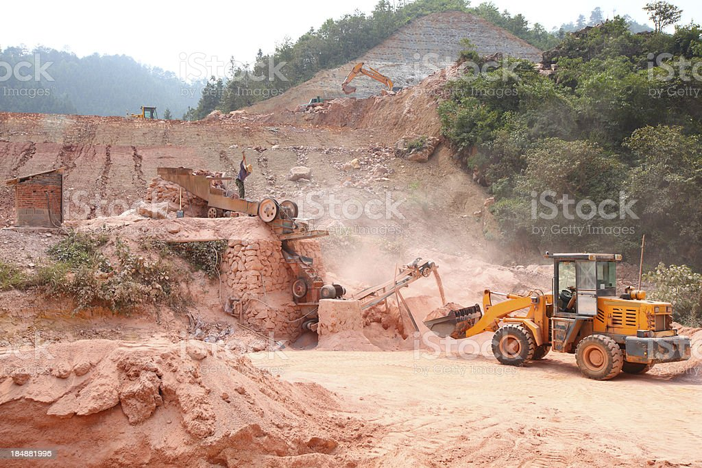 bulldozer in a construction site royalty-free stock photo