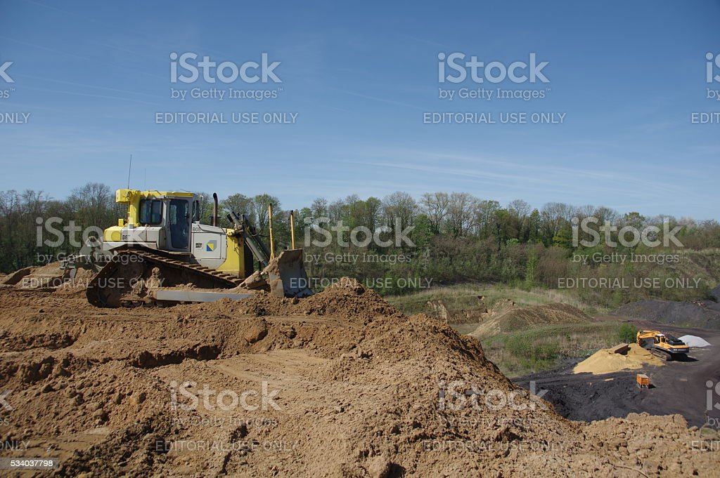 Bulldozer in action stock photo
