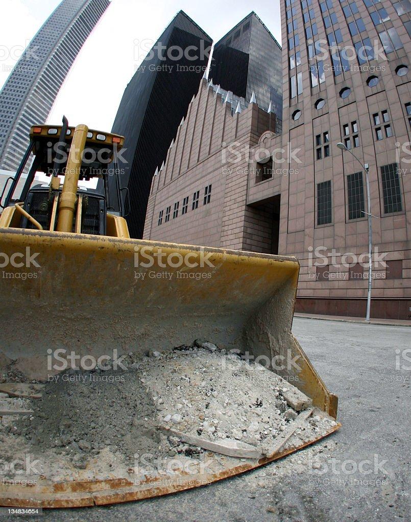 bulldozer in downtown Houston stock photo