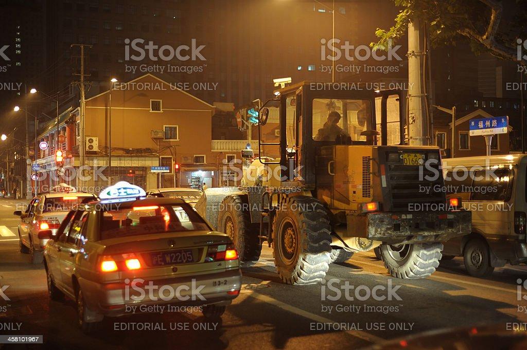 Bulldozer in Shanghai royalty-free stock photo