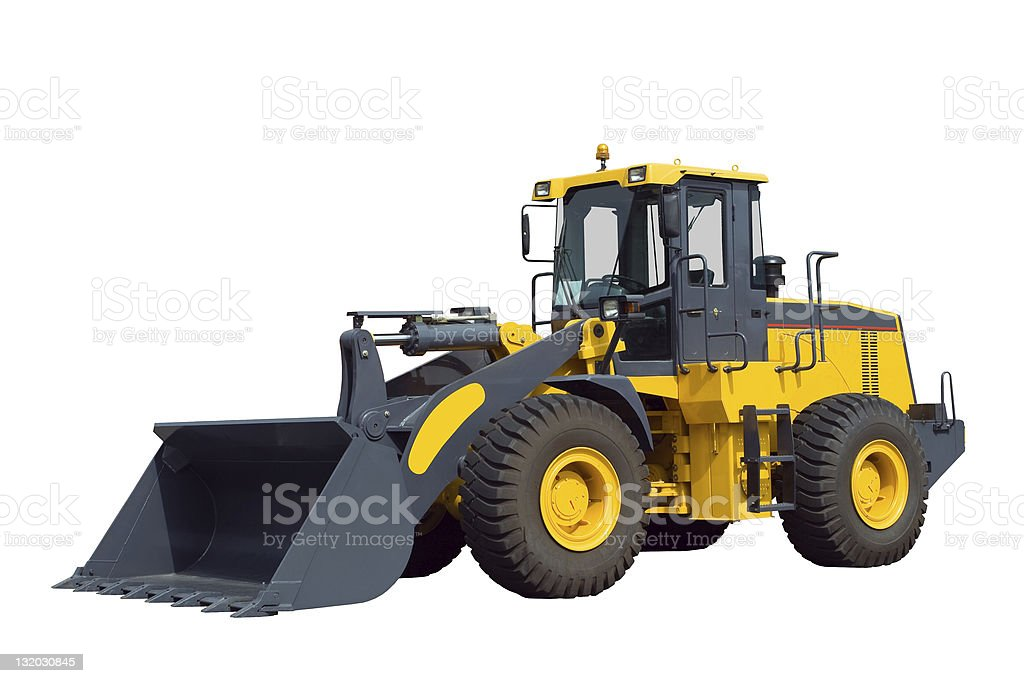 Bulldozer, isolated on white stock photo