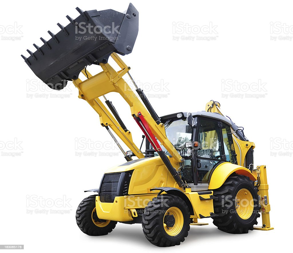 Bulldozer, isolated on white with clipping path stock photo