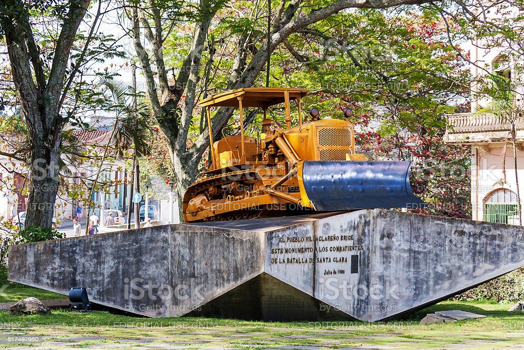 Bulldozer monument in Santa Clara, Cuba. stock photo