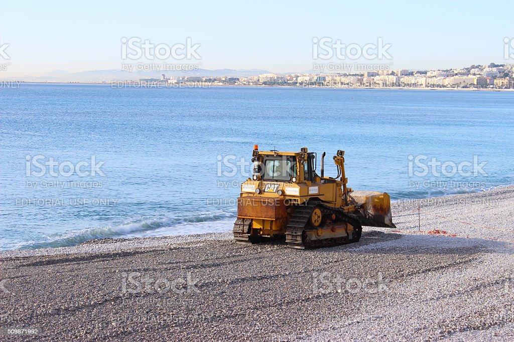 Bulldozer on the Beach of Nice stock photo