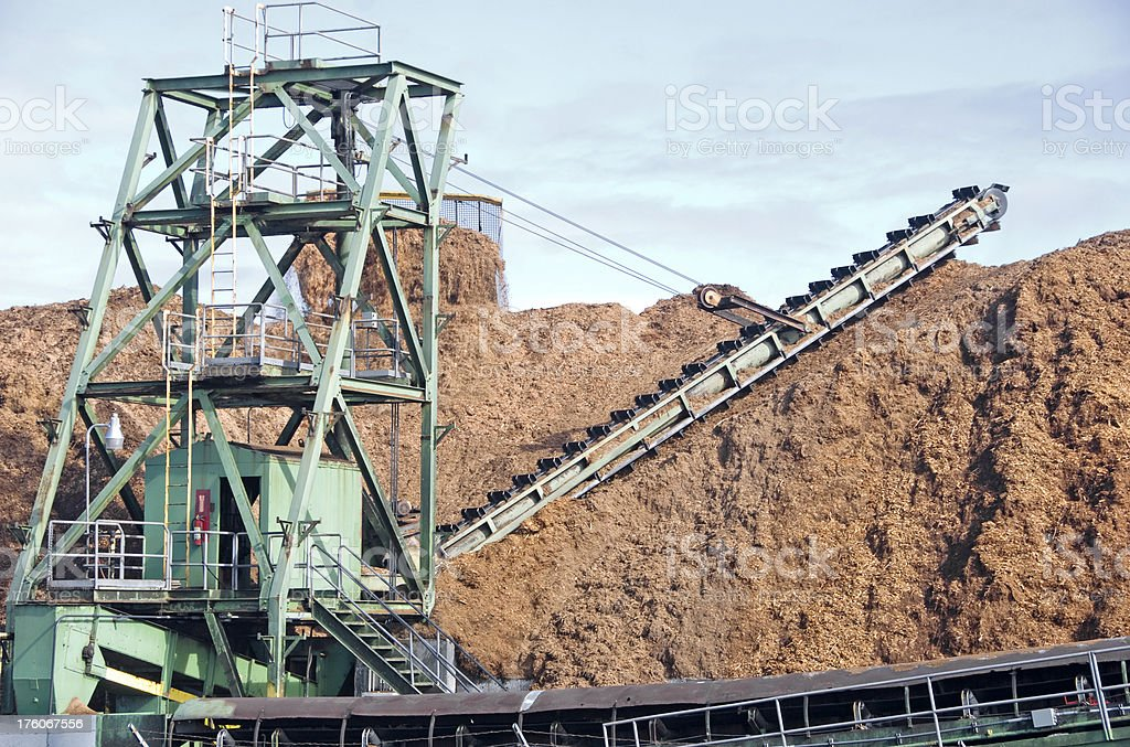 Bulldozer pushing woodchips toward conveyer belt royalty-free stock photo