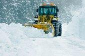 bulldozer removing snow