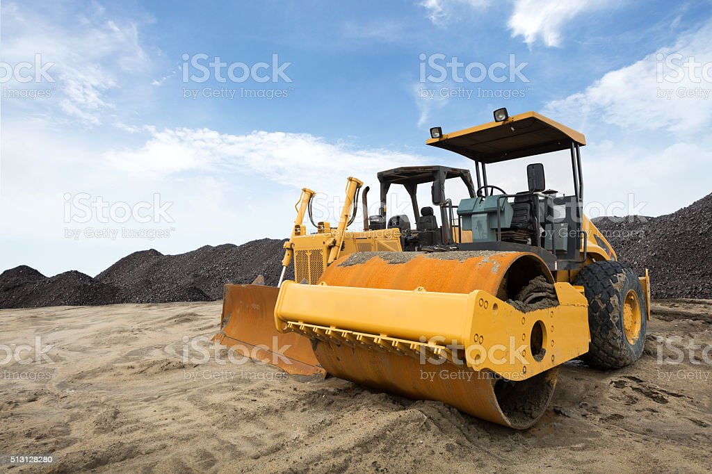 Bulldozer & Road Roller stock photo