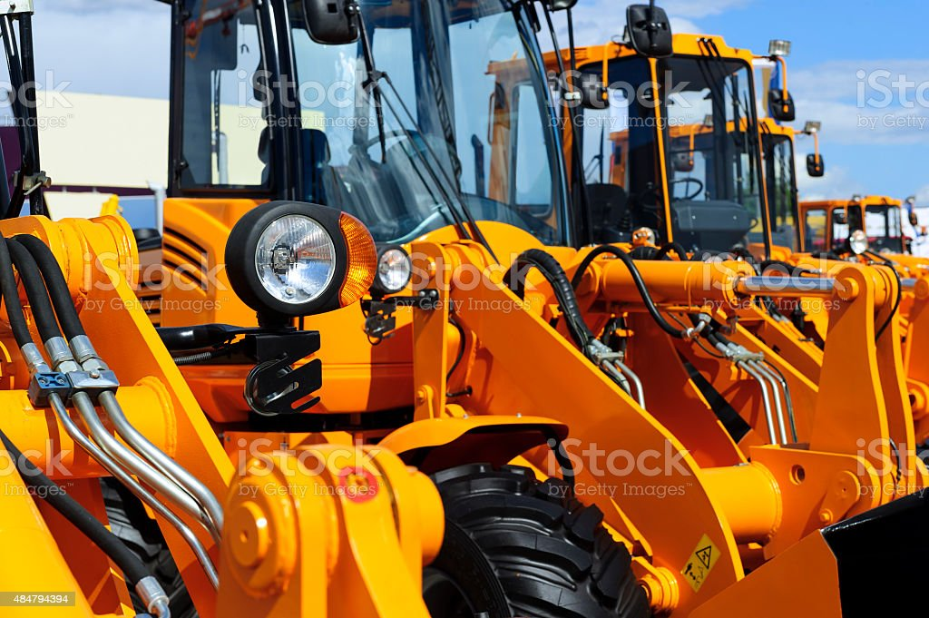 Bulldozer row detail stock photo